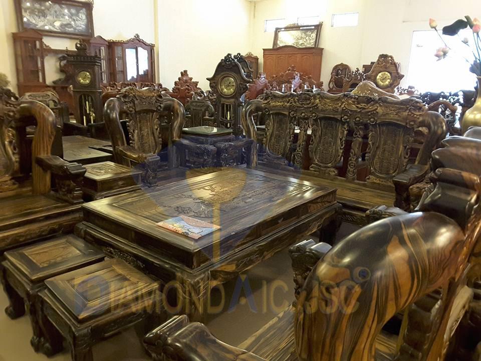 Bộ bàn ghế phòng khách bằng ghỗ mun